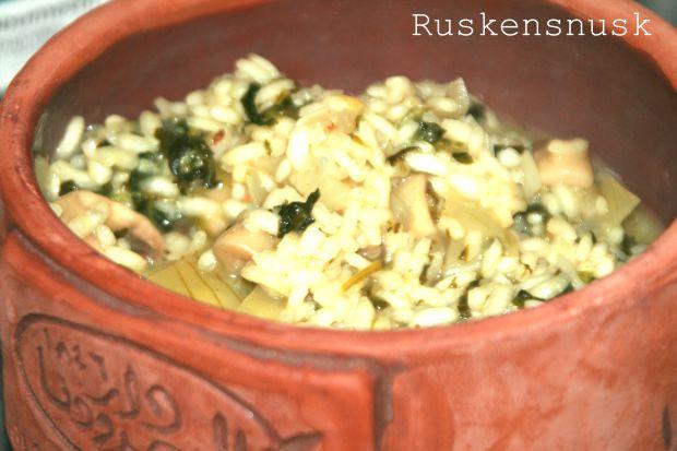 Lækker Risotto med spinat og champignoner