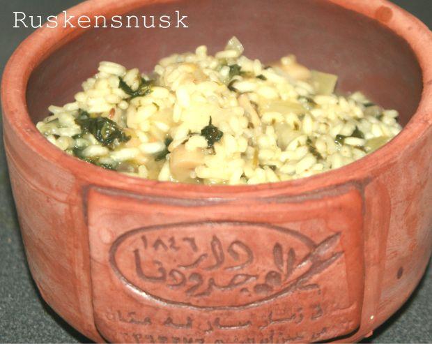 Risotto med spinat og champignoner